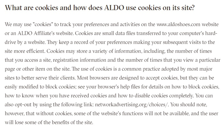 ALDO's US Privacy Policy cookies clause