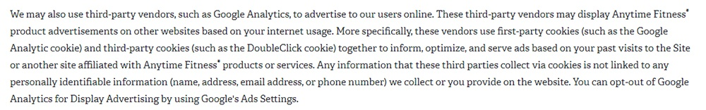 Anytime Fitness Privacy Policy: Cookies clause excerpt about Google Analytics