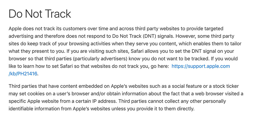 Apple Privacy Policy: Do Not Track clause