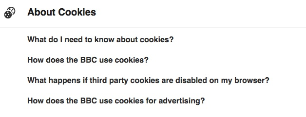 BBC's Cookies Policy About Cookies page