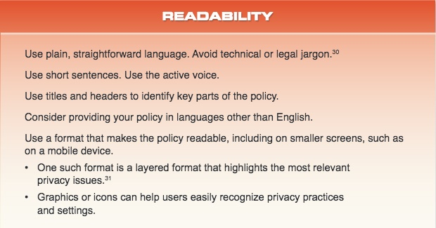 CA Attorney General CalOPPA Recommendations for Readability of a Privacy Policy