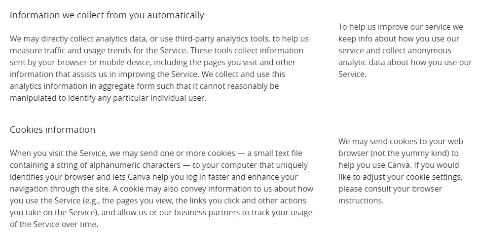 Canva Privacy Policy Information We Collect From You Automatically And Cookies Clauses