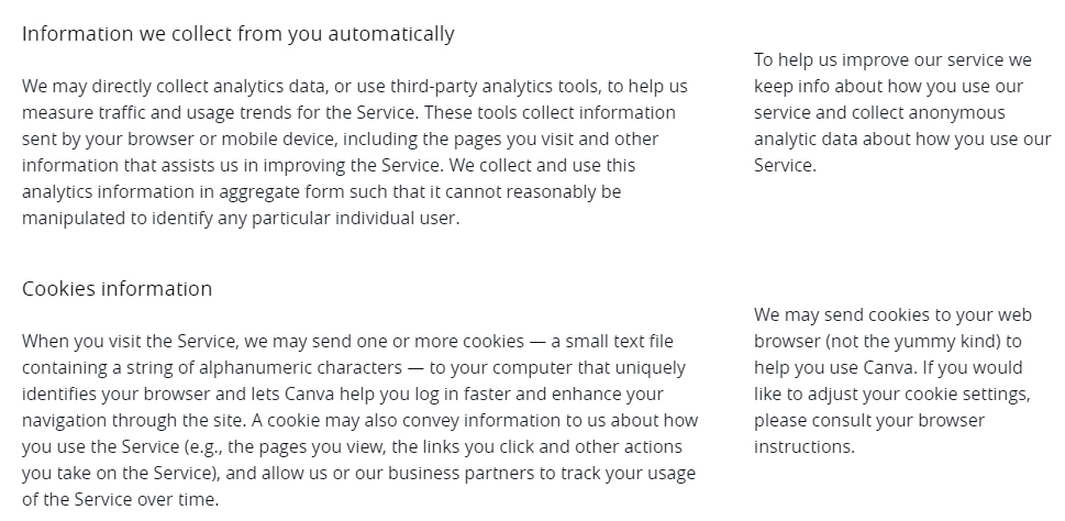 Canva Privacy Policy: Information we collect from you automatically and Cookies information clauses