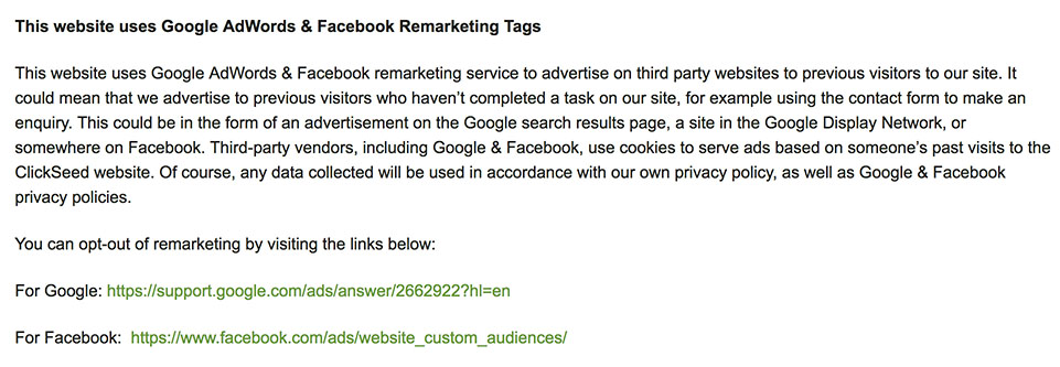 Clickseed Privacy Policy: This website uses Google AdWords and Facebook Remarketing Tags clause with Opt-out options