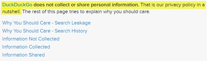 DuckDuckGo: Screenshot of Privacy Policy page with highlighted excerpt - does not collect or share personal information