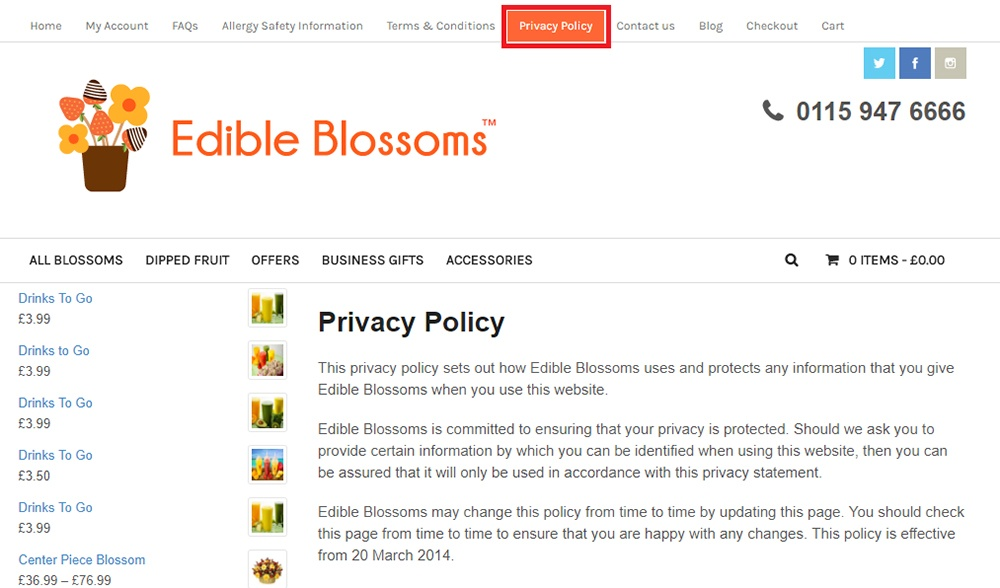 Edible Blossoms: Privacy Policy link in header