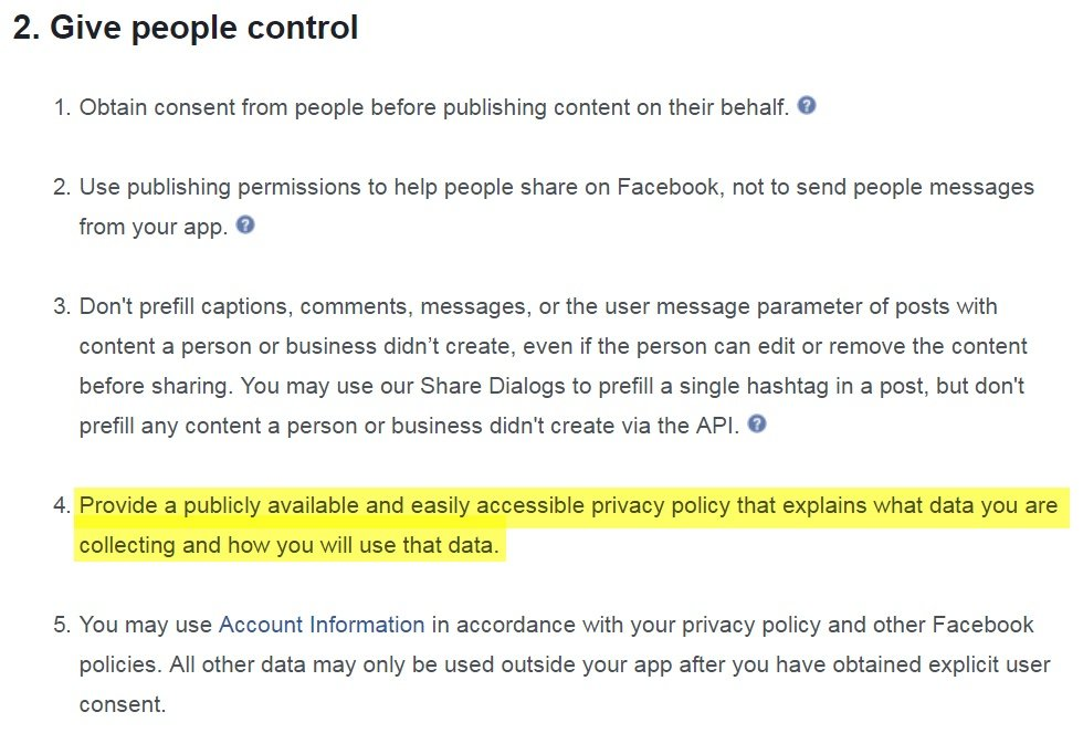 a2df550615b Facebook Terms for App Developers  Give People Control Clause