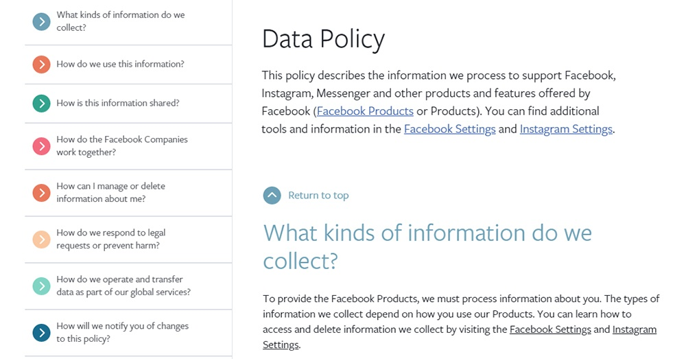 Facebook Data Policy: Homepage with main menu