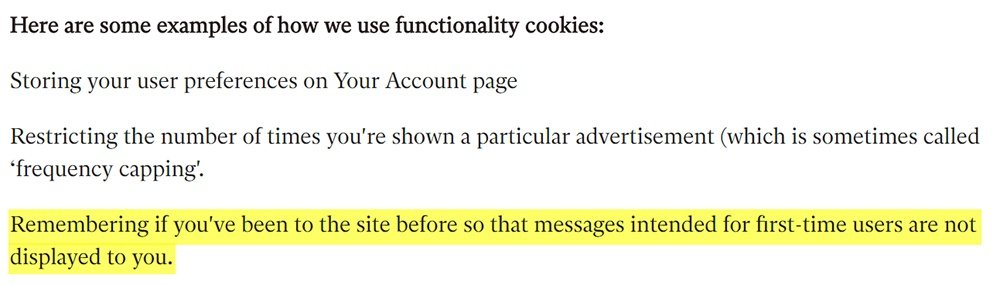 Generic clause about functionality cookies with information highlighted