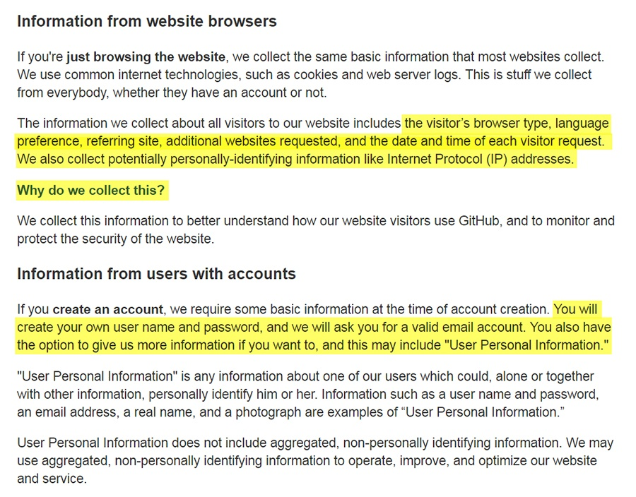 6cbcba3b5c2 GitHub Privacy Policy  Information from Website Browsers and users with  accounts clauses