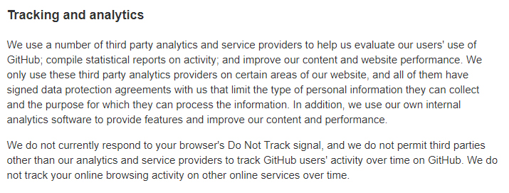 GitHub Privacy Statement: Tracking and Analytics clause - DNT