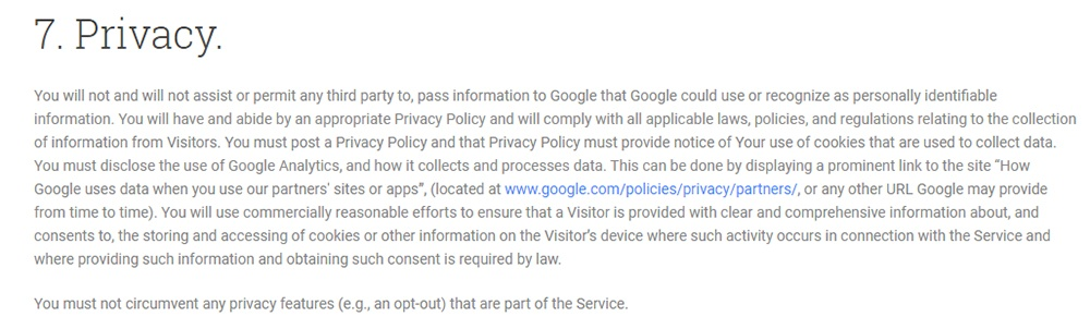 Google Analytics Terms of Service Privacy clause
