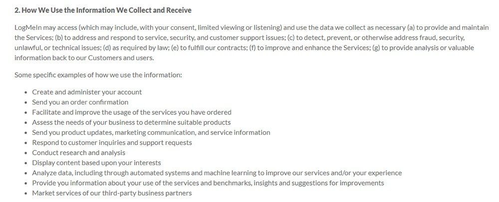 LogMeIn Privacy Policy How We Use The Information Collect And Receive Clause
