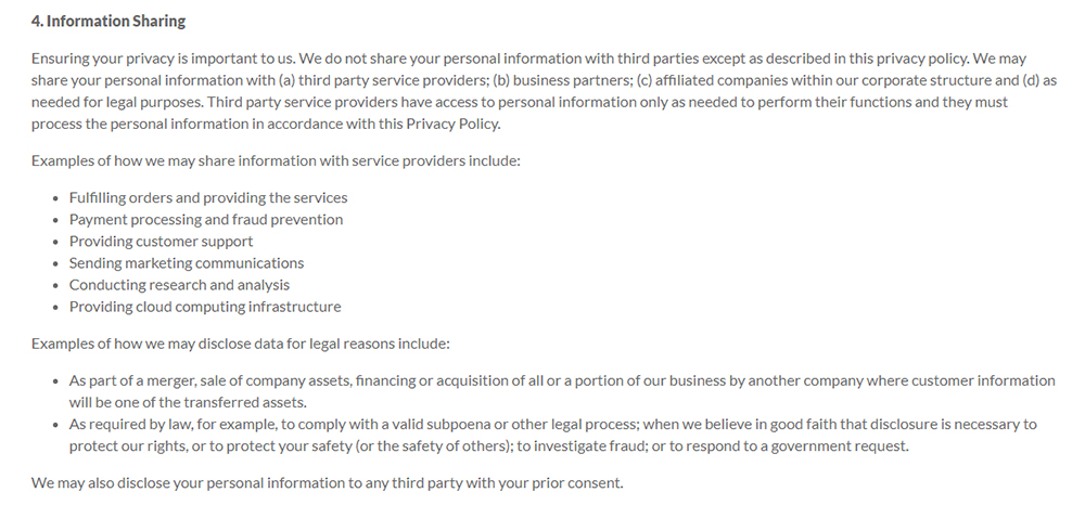 LogMeIn Privacy Policy Information Sharing Clause Discussing Third Party Disclosure