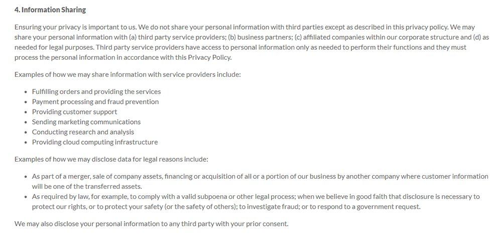 LogMeIn Privacy Policy: Information Sharing clause discussing third party disclosure