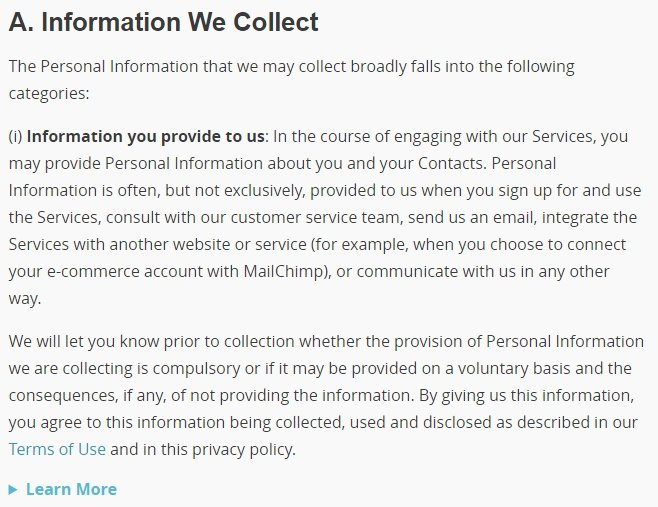 MailChimp Privacy Policy: Information We Collect clause excerpt