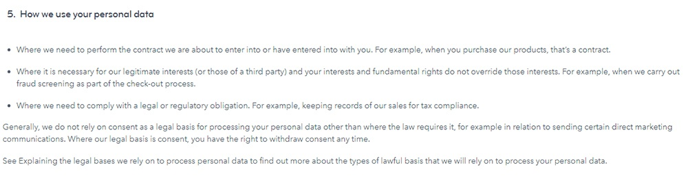 MOO Privacy Policy: How we use your personal data clause