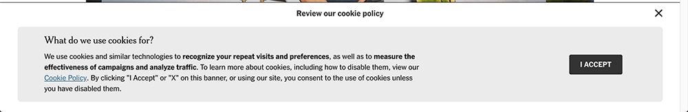 NYTimes cookies banner notice with Accept button