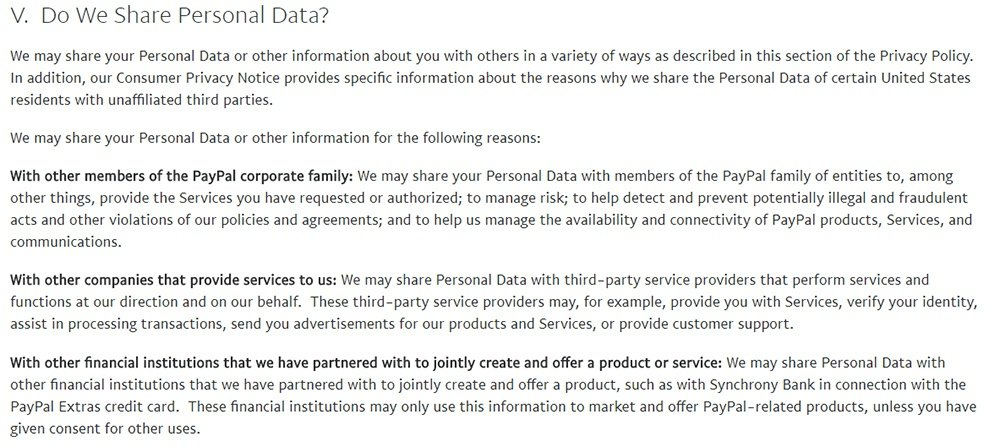 PayPal Privacy Policy: Do We Share Personal Data clause