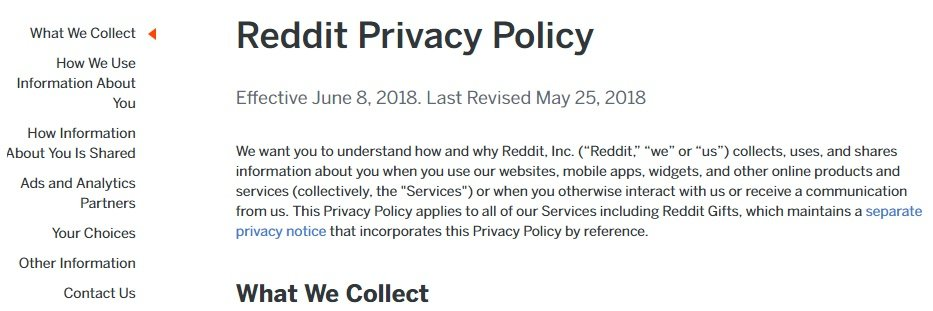 Reddit: Screenshot of Privacy Policy page intro and table of contents