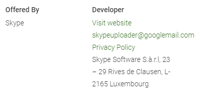 Skype app on Google Play Store: Developer info with Privacy Policy link
