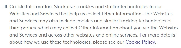 Slack Privacy Policy: Cookie clause with link to cookie policy
