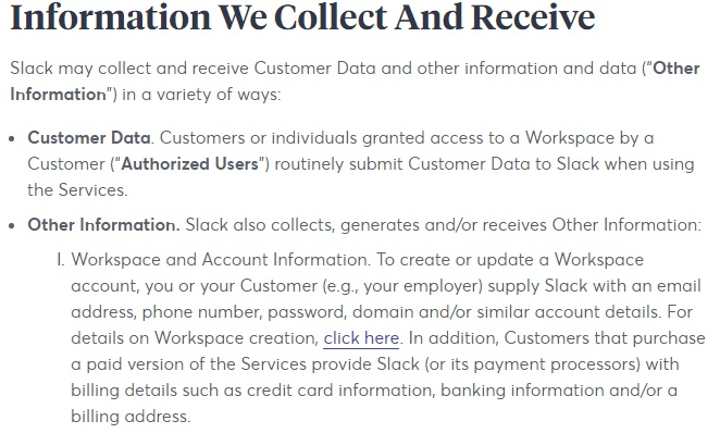 Slack Privacy Policy: Information We Collect and Receive clause