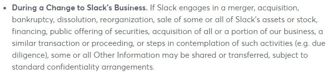 Slack Privacy Policy: How we share and disclose information during a change to business clause
