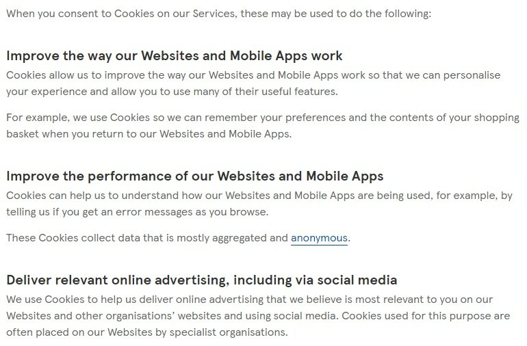 Tesco Privacy and Cookies Policy: How cookies are used clause