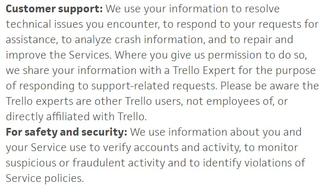 Trello Privacy Policy: How we use information we collect clause excerpt