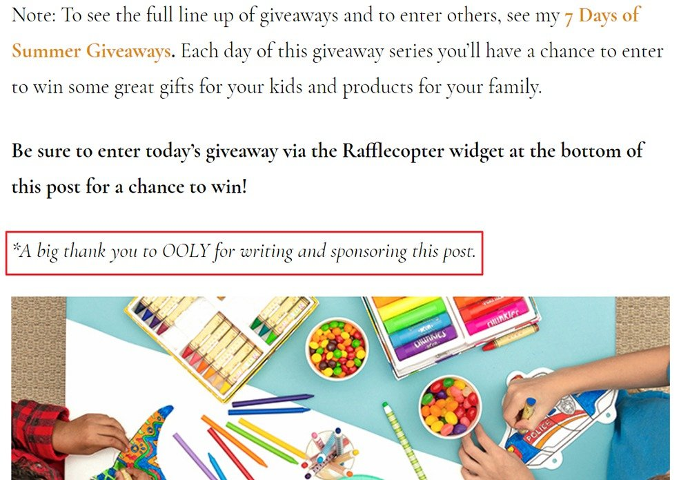 Artful Parent blog sponsored post disclosure