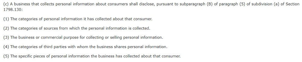 California Legislative Information: California Consumer Privacy Act CCPA - Section 1798:110 - Disclosure of personal information collection practices