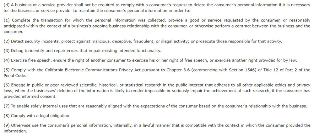 California Legislative Information: California Consumer Privacy Act CCPA - Section 1798:105 - Right to deletion exceptions