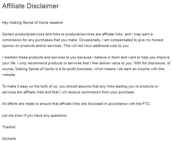 Making Sense of Cents affiliate disclaimer