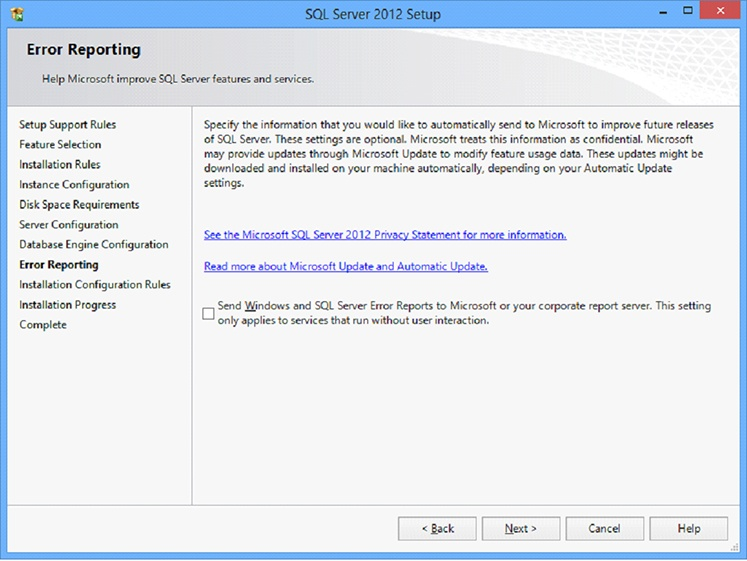 Microsoft SQL Server 2012 Setup screen