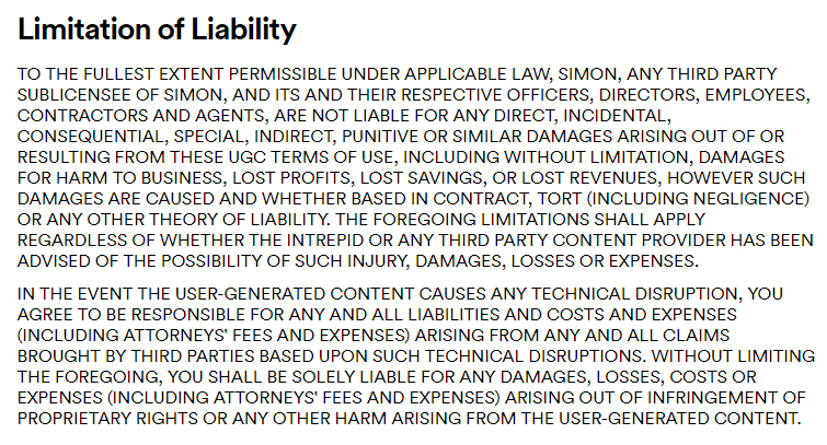 Simon's User Generated Content Terms of Use: Limitation of Liability clause