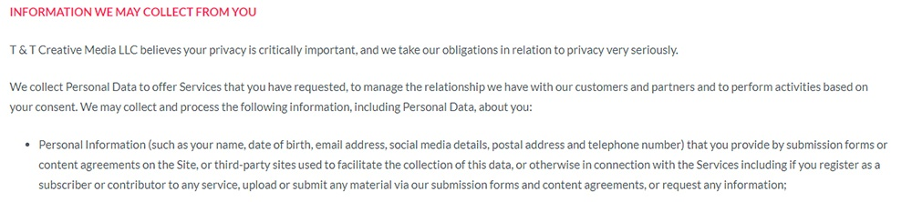T and T Creative Media Privacy Policy: Information we may collect from you clause discussing user generated content