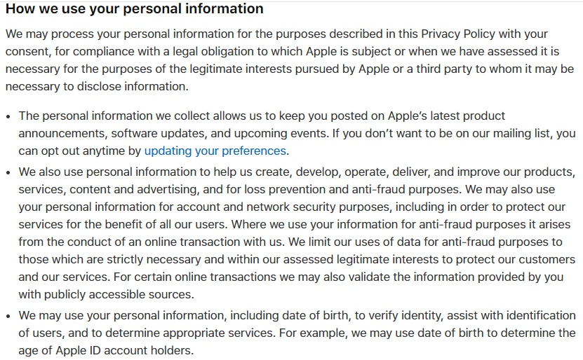 Apple UK Privacy Policy: How we use your personal information clause excerpt