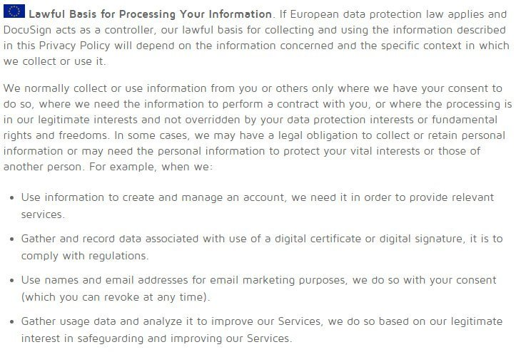 DocuSign UK Privacy Policy: Lawful Basis for Processing Your Information clause