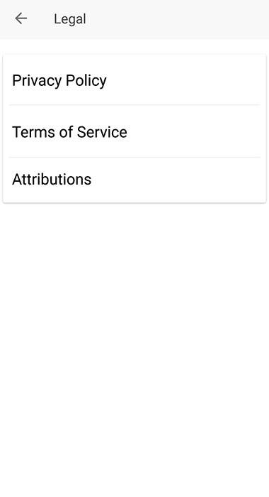 Evernote Android mobile app: Legal menu with Privacy Policy link highlighted