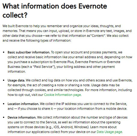 Evernote Privacy Policy: What information does Evernote collect clause