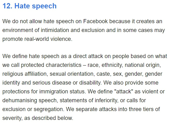 Facebook Community Standards: Hate speech clause