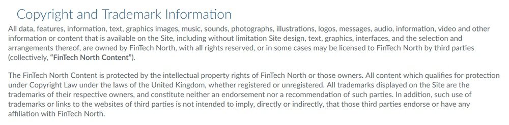 FinTech North UK Terms and Conditions: Copyright and Trademark Information clause