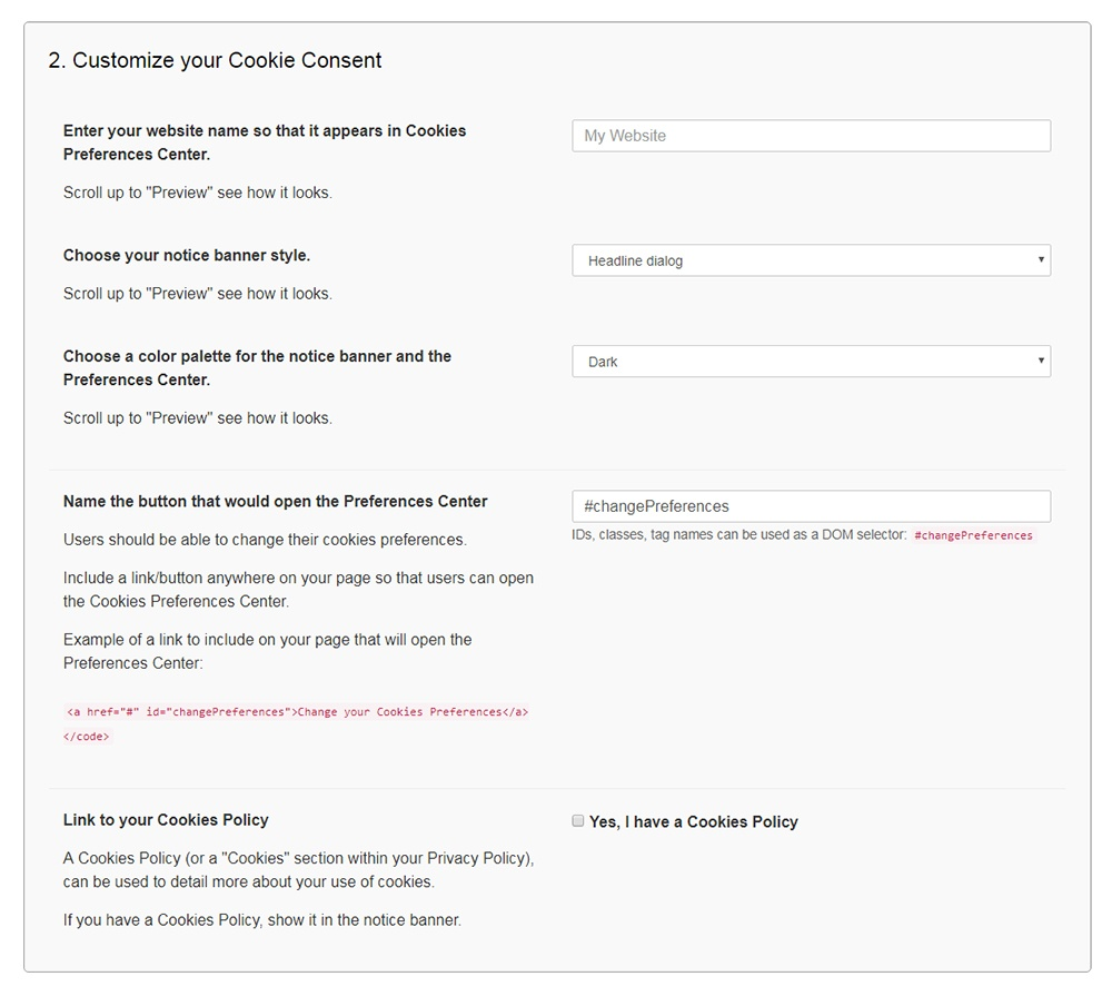 Cookies Consent Examples - Free Privacy Policy