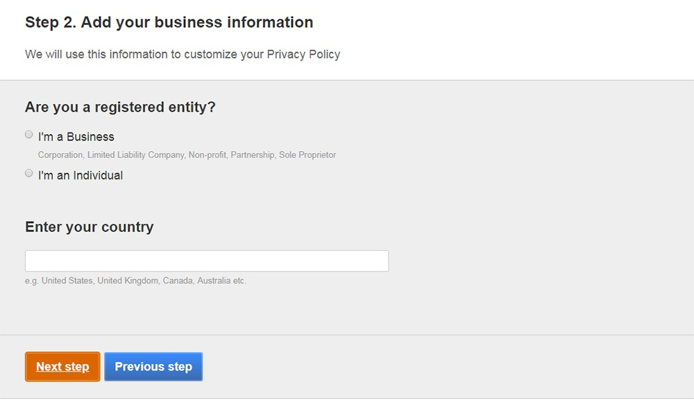 FreePrivacyPolicy: Privacy Policy Generator - Answer a few questions about your business - Step 2