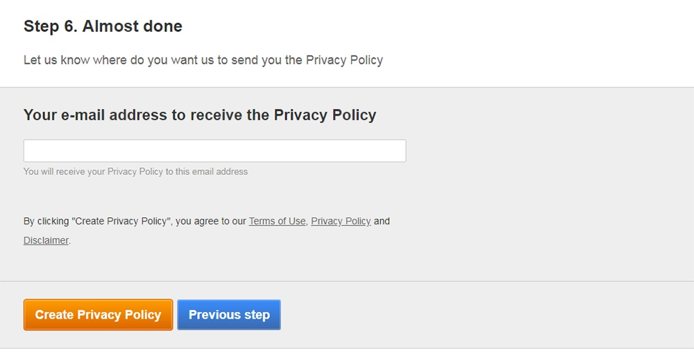 FreePrivacyPolicy: Privacy Policy Generator - Enter your email address - Step 7