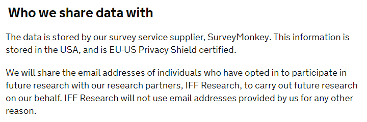 GOV.UK Privacy Notice: Who we share data with clause