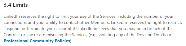 LinkedIn User Agreement: Rights and Limits clause - Right to restrict or terminate accounts