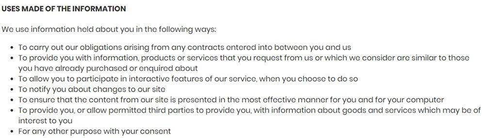 Piksel SaaS Privacy Policy: Uses made of the information clause