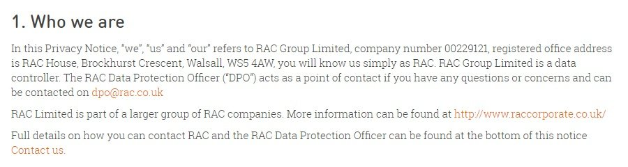 RAC UK Privacy Policy: Who we are clause - contact information